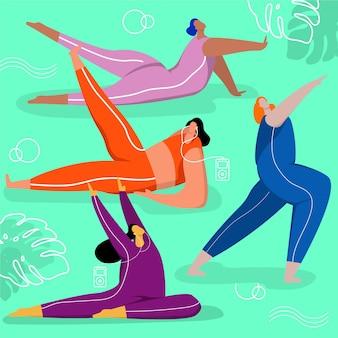 Gente di design piatto che fa concetto di yoga