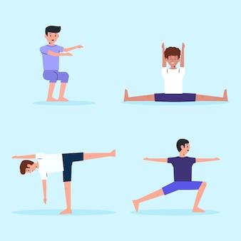 Flat design people doing yoga set