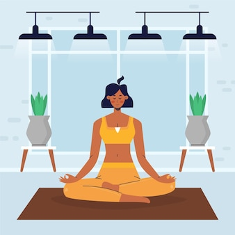 Design piatto persone che fanno tema yoga