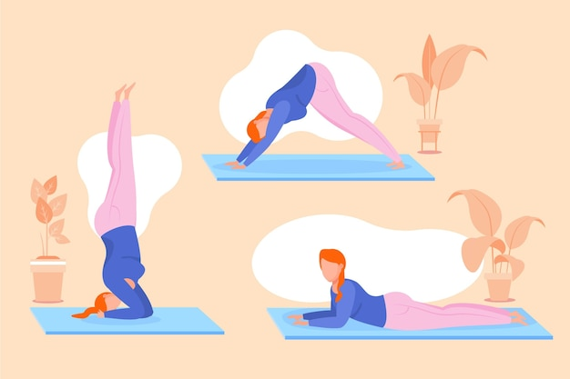 Flat design people doing yoga