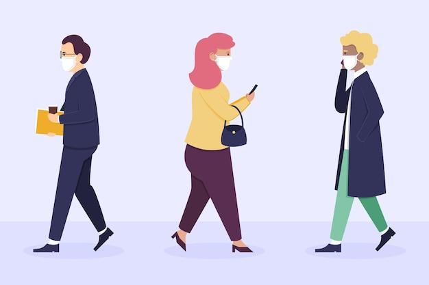 フェイスマスクで仕事に戻るフラットデザインの人々