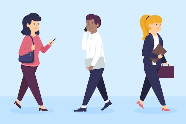 Flat design people going back to work illustration