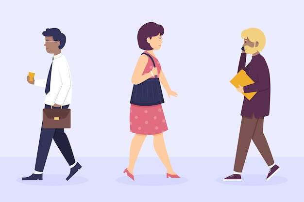 Flat design people going back to work