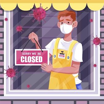 Persone di design piatto che appendono un cartello chiuso