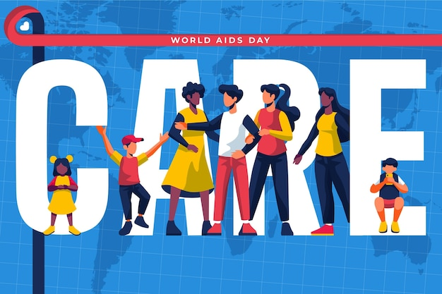 Flat design people illustrated for aids day event