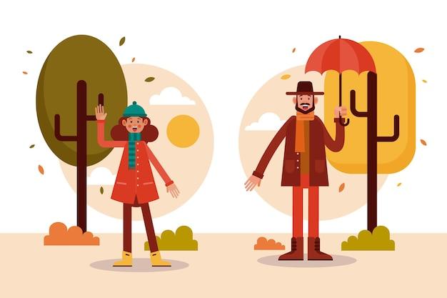 秋のフラットデザインの人々