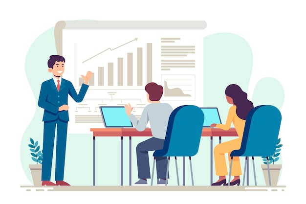 Плоский дизайн людей на бизнес-обучении проиллюстрирован