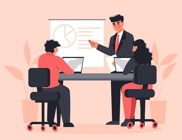 図解されたビジネストレーニングのフラットデザインの人々