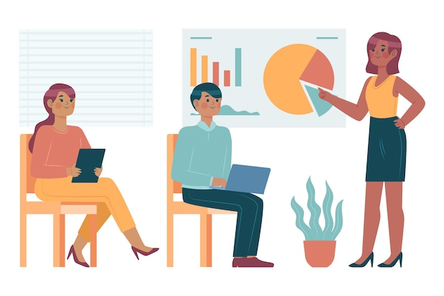 Плоские люди дизайна на бизнес-обучении