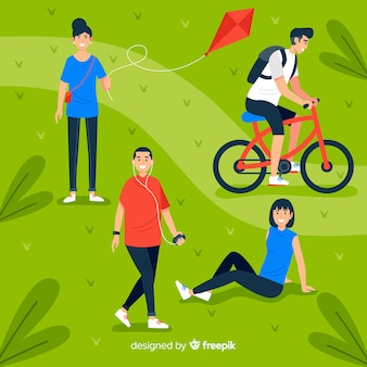 Flat design people in the park