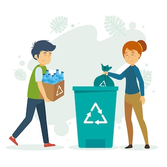 Flat design people recycling illustration