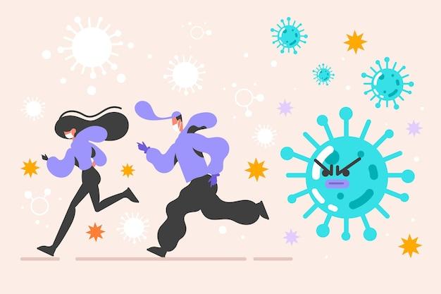 コロナウイルスの粒子から逃げるフラットなデザインの人々