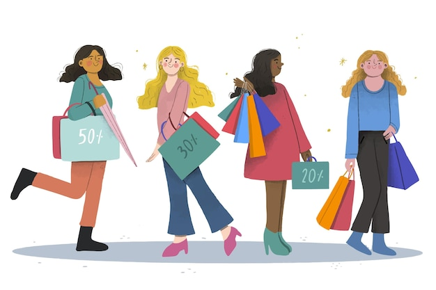 Flat design people shopping on sale