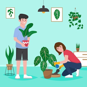 함께 식물을 돌보는 평면 디자인 사람들