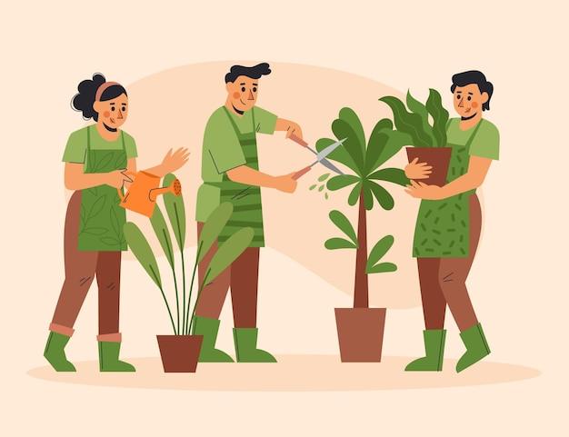 식물을 돌보는 평면 디자인 사람들