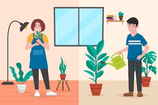 Persone dal design piatto che si prendono cura delle scene delle piante