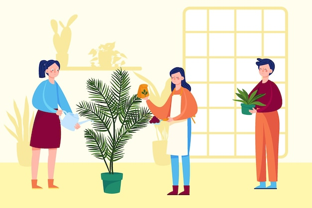 Flat design people taking care of plants