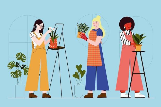 Persone dal design piatto che si prendono cura delle piante