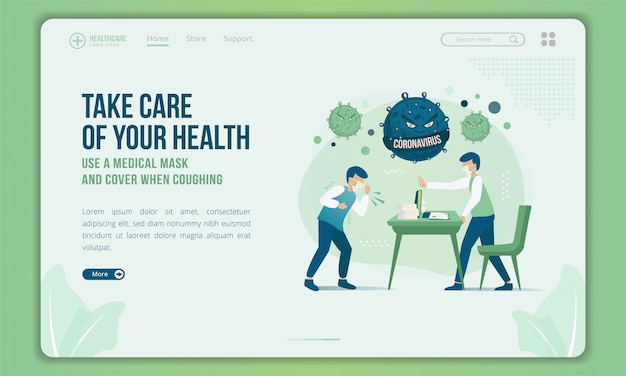 Flat design of people try to stop other and ask to cover when coughing on landing page