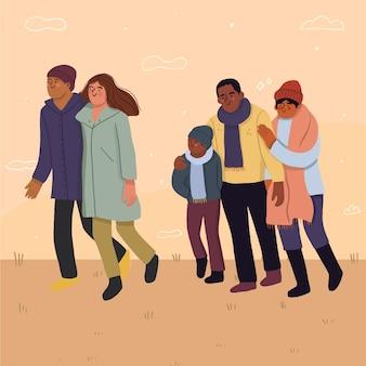 가을에 걷는 평면 디자인 사람들