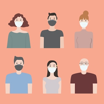 Flat design of people wearing medical masks to prevent covid 19