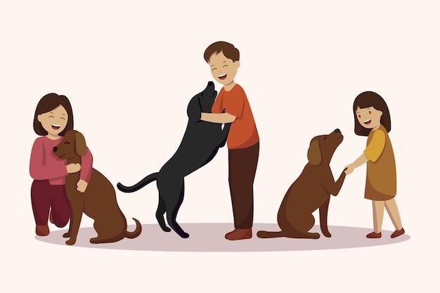 Плоский дизайн люди с милыми домашними животными