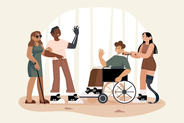 Flat design people with disability in a room