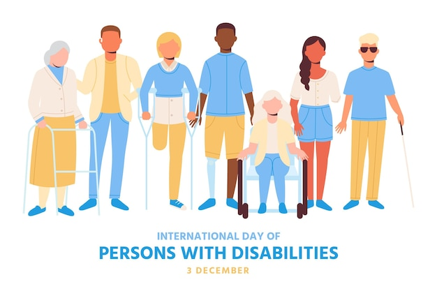 Flat design people with disability