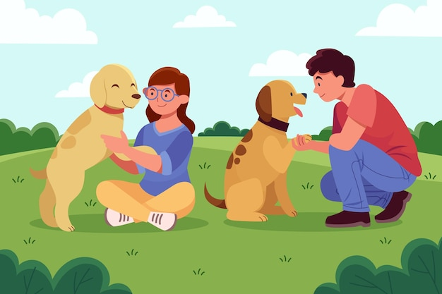 Flat design people with pets in park