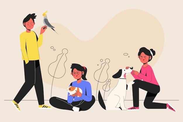 Плоский дизайн люди с домашними животными
