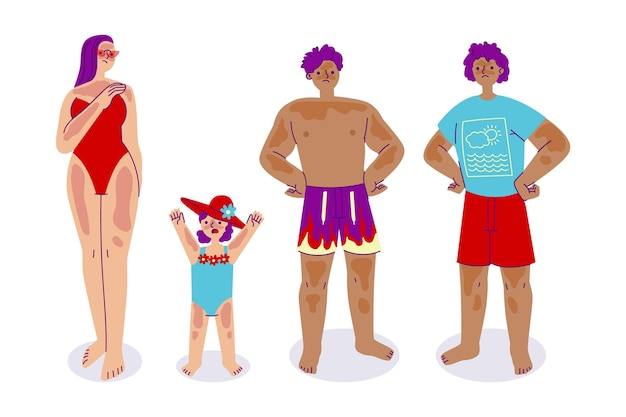 Flat design people with sunburn collection
