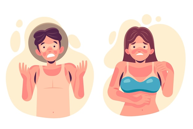 Flat design people with a sunburn illustration