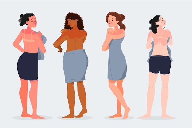 Flat design people with sunburn set