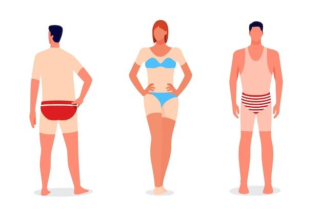 Flat design people with a sunburn