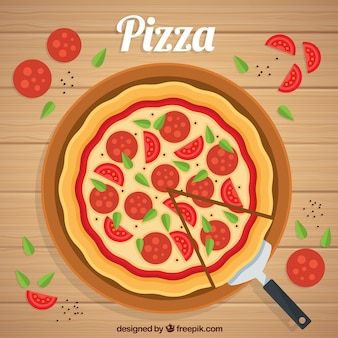 Flat design pepperoni pizza background