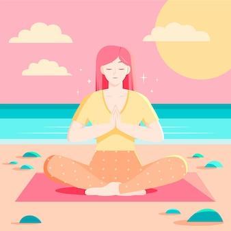 瞑想するフラットデザインの人