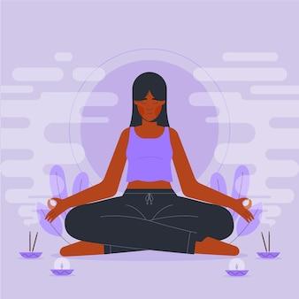 Flat design person meditating