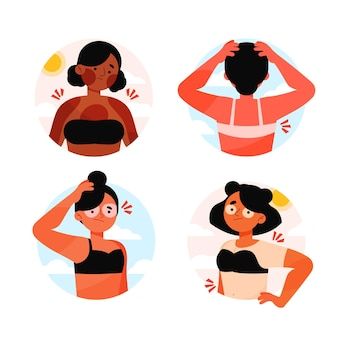 Flat design person with sunburn pack