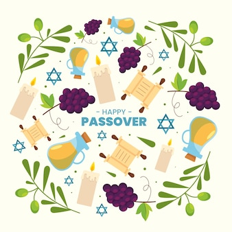 Flat design pesach event arrangement of  elements