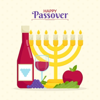 Flat design pesach event with candles