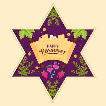 Flat design pesach event with glasses of wine