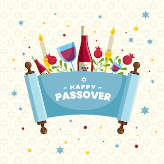 Flat design pesach event with wine
