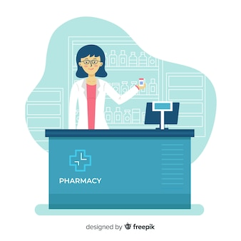 Flat design pharmacist at counter