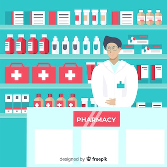 Flat design pharmacist greeting customers