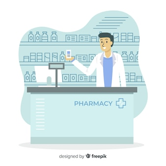 Flat design pharmacist serving customers