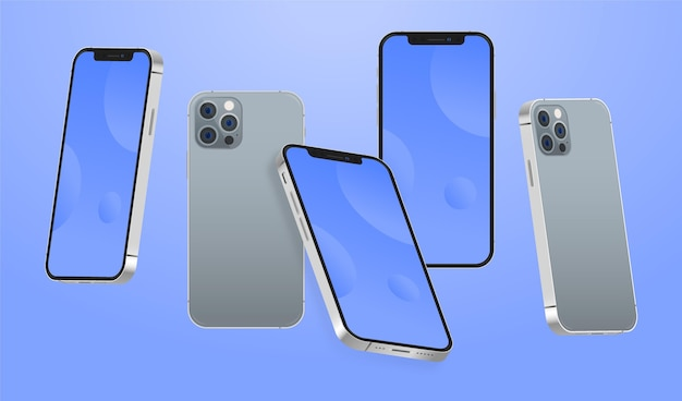 Flat design phone in different perspectives