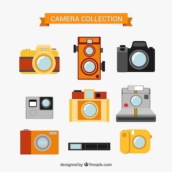 Flat design photo camera collection