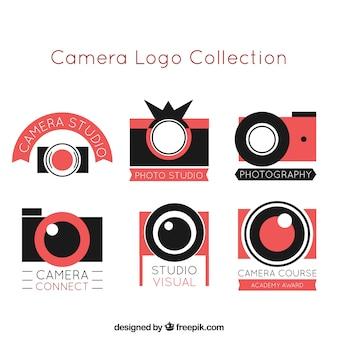 フラットデザインの写真のカメラロゴのcollectio