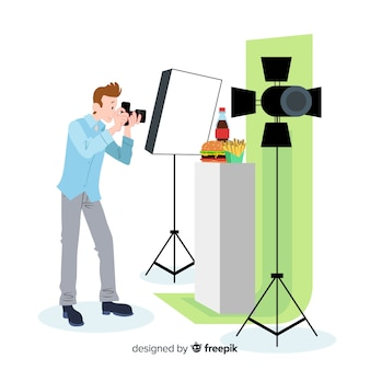 Flat design photographer taking pictures in studio