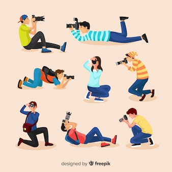 Flat design photographers' poses Premium Vector